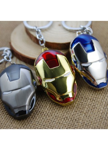 Ironman Head Keychain Red