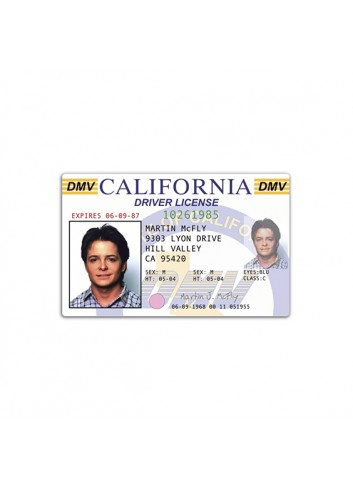 Back to The Future Marty McFly Driver Licence