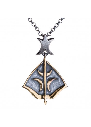 Dirilis Ertugrul Bow & Arrow with Crescent Motif Silver Necklace