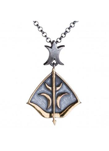 Dirilis Ertugrul Bow & Arrow with Crescent Motif Silver Necklace