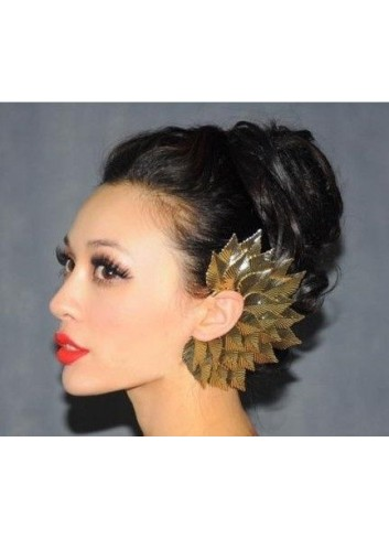 Gothic Punk Sexy Gold Metal Big Leaves Elf Ear Earring