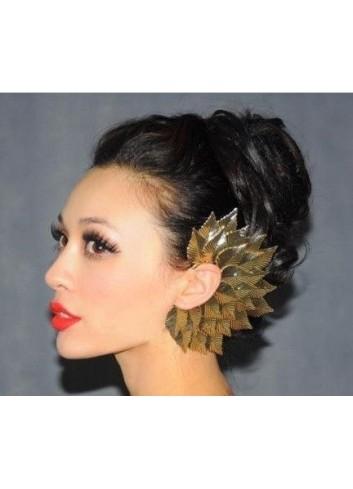 Gothic Punk Sexy Gold Metal Big Leaves Elf Ear Earring
