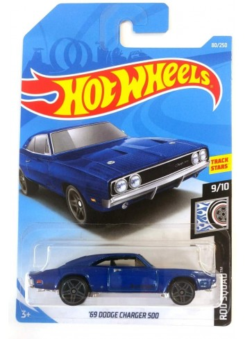 Hot Wheels 2019 '69 Dodge Charger 500 Rod Squad Blue 80/250, Long Card by Mattel
