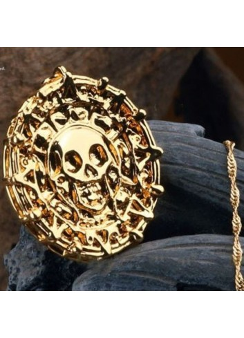JACK SPARROW Pirates of Caribbean Golden Medal Necklace C00016
