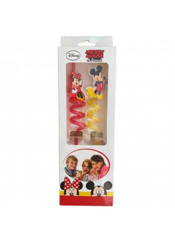 Disney Mickey and Minnie Mouse Set of 2 Curved Straws