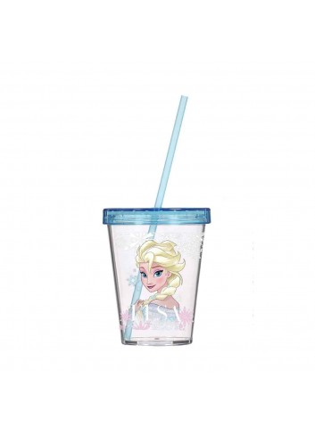 Frozen Elsa Glass With Straw Blue 450 ml.