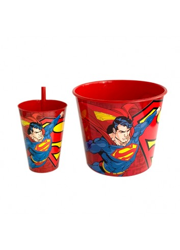 Licensed Superman Movie Pleasure Corn Bucket and Glass